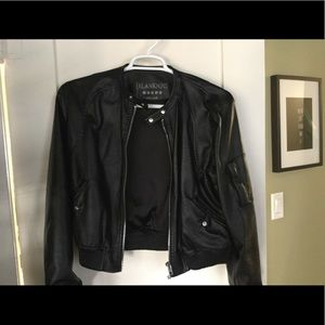 Blank NYC faux leather bomber jacket